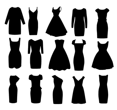 Set black different shapes of evening ball cocktail dresses vector