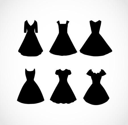 Set of black different shapes retro dresses vector Иллюстрация