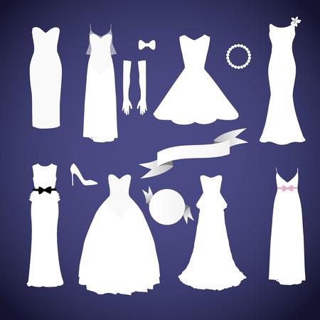 Verschiedene Stile Brautkleider Sammlung Vektor Standard-Bild - 80934412