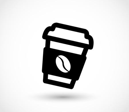 long bean: Paper coffee cup icon vector Illustration
