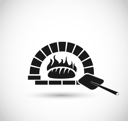 Bread in an oven icon vector