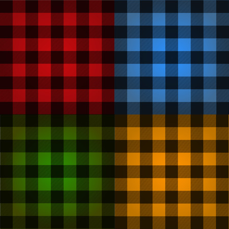 Lumberjack plaid pattern set vector  イラスト・ベクター素材
