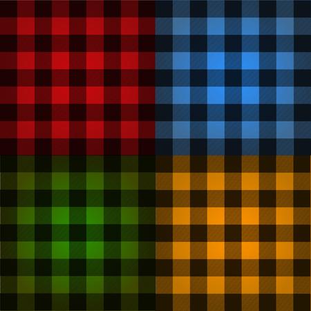 Lumberjack plaid pattern set vector  イラスト・ベクター素材