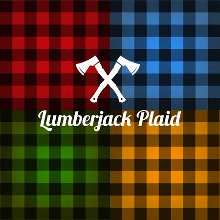 Lumberjack plaid pattern set vector Illusztráció