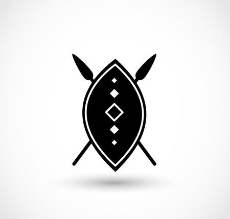 Scudo africano con il vettore di lance Vettoriali