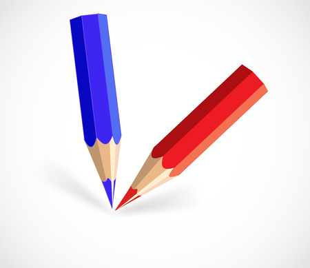 Blue and red short color pencils vector Illustration