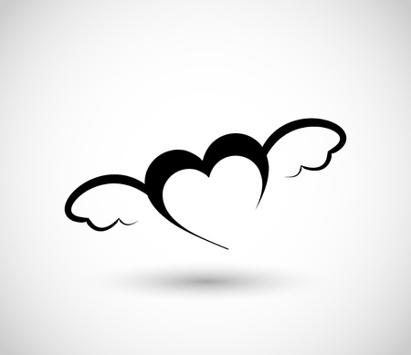 Heart with wings icon Vector illustration.