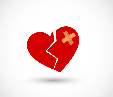 Broken heart with plaster vector