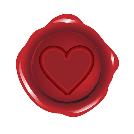Red wax seal with a heart vector Çizim
