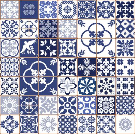 Blaues portugiesisches Fliesenmuster - Azulejos-Vektor, Innenarchitekturfliesen der Mode
