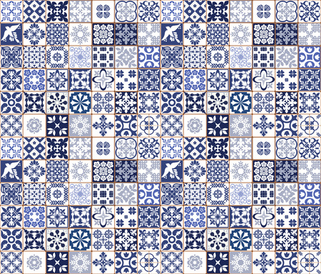 Blue Portuguese tiles pattern - Azulejos vector, fashion interior design tiles Stock fotó - 94987812
