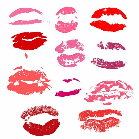 Lips print vector set