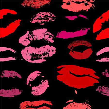 Vecteur de motif d'impression de lèvres Vecteurs