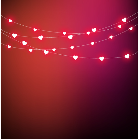 Beautiful love background with heart shaped lights. Hanging on a string vector Çizim