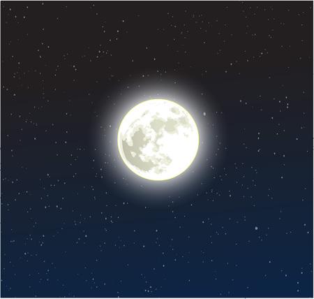 Moon on a starry dark blue night sky vector