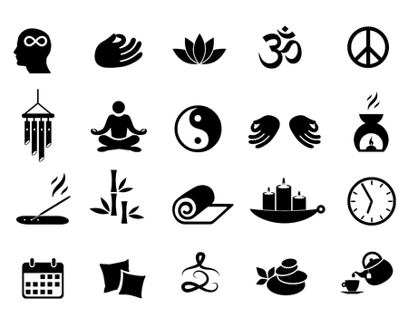 Meditation icon set vector