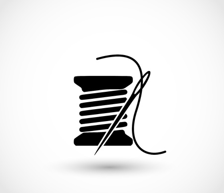 Spoel met naald pictogram vector. Stockfoto - 99657597