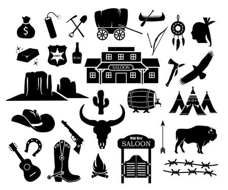 Conjunto de iconos de vector de vaquero, occidental, salvaje oeste