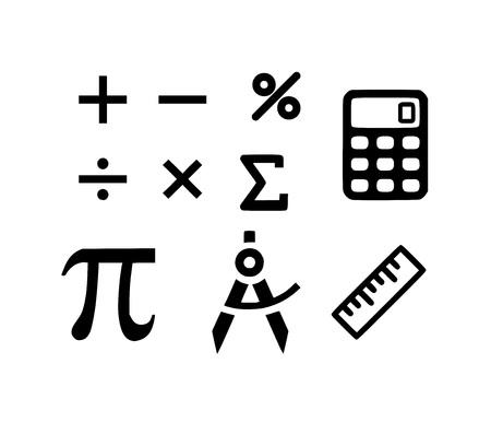 Mathematics icon set vector Ilustracja