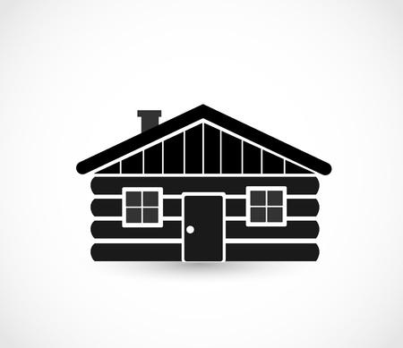 Wood log house icon vector