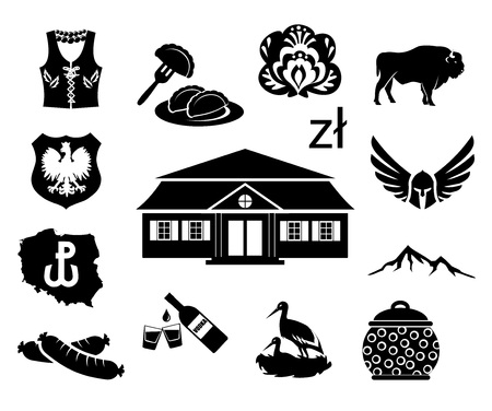 National symbols of Poland - vector icon set illustration. Vectores