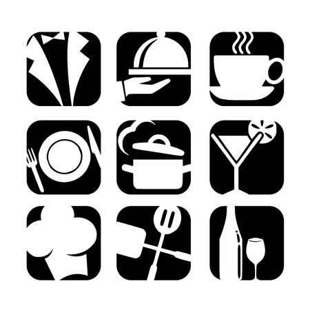 Restaurant icon set vector Stock Illustratie