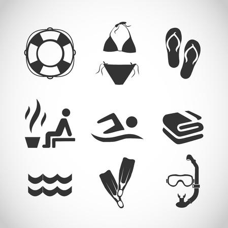 Swimming icon set vector Illustration
