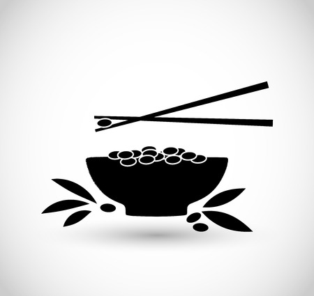 Bowl of rice vector icon