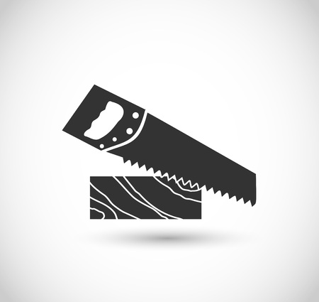 Plank with saw icon vector