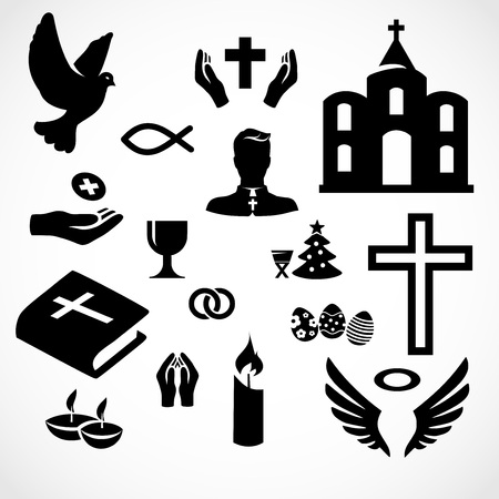 Catholic church icon set vector