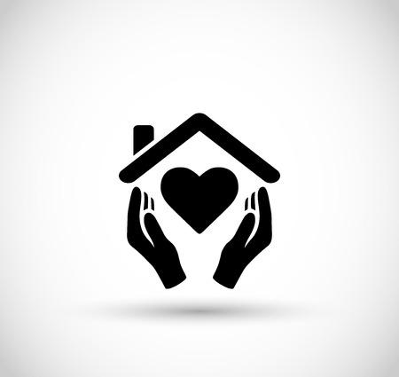 Manos Que Sostienen El Simbolo De La Casa Con El Icono De Linea De