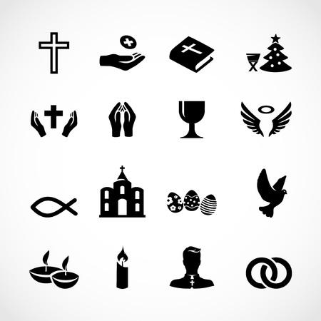 Zestaw ikon Kościoła katolickiego Ilustracja wektorowa.