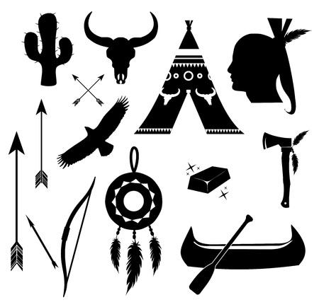 Apache, indian icon set vector Vectores
