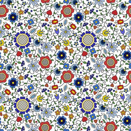 Traditional, modern Polish - Kashubian floral folk pattern vector, Kashubian pattern, Kashubian patterns  イラスト・ベクター素材