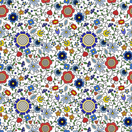 Traditional, modern Polish - Kashubian floral folk pattern vector, Kashubian pattern, Kashubian patterns Vettoriali