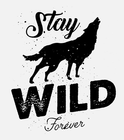 Stay Wild Forever beautiful vector illustration Çizim