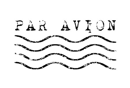 Par avion weathered rubber stamp vector