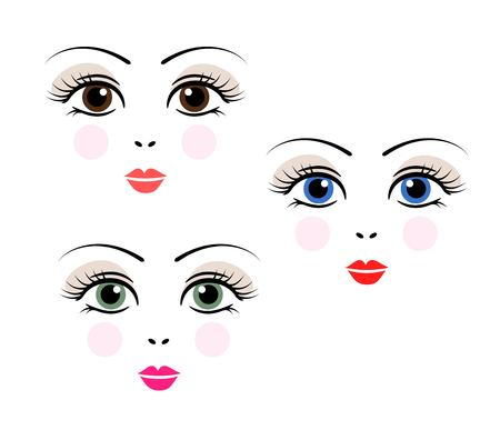 doll girl woman cute face template vector royalty free cliparts