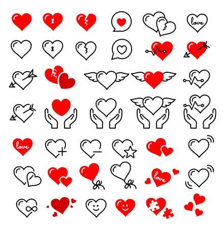 Beautiful cute heart icon set illustration on white background.