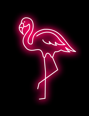 Pink Flamingo vector neon