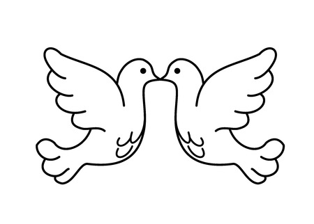 Two pigeons vector icon