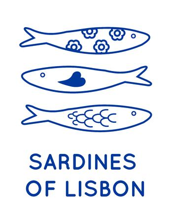 Sardines of Lisbon Portugal vector 免版税图像 - 100832234