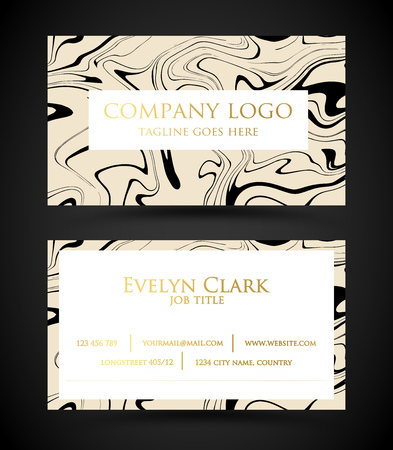 Beautiful marble business card template vector