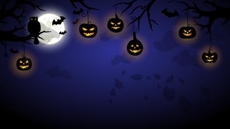 Halloween night spooky illustration VECTOR design wallpaper Illustration