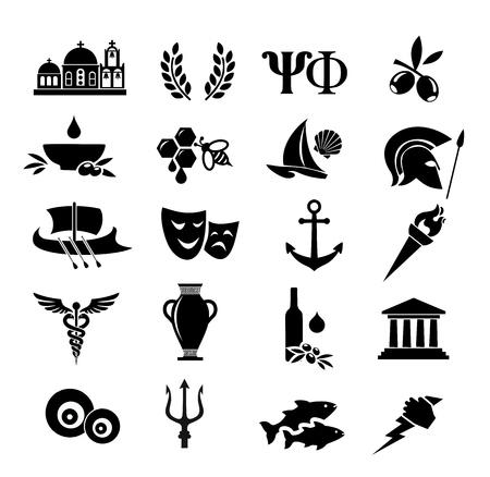 Greek vector icon set