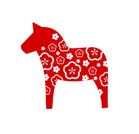 Dala horse Swedish decoration vector