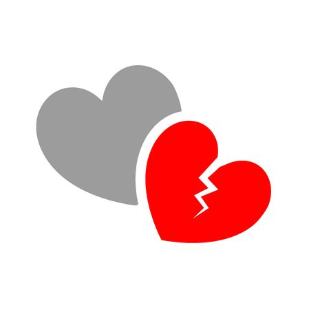 Beautiful icon of broken heart vector Çizim