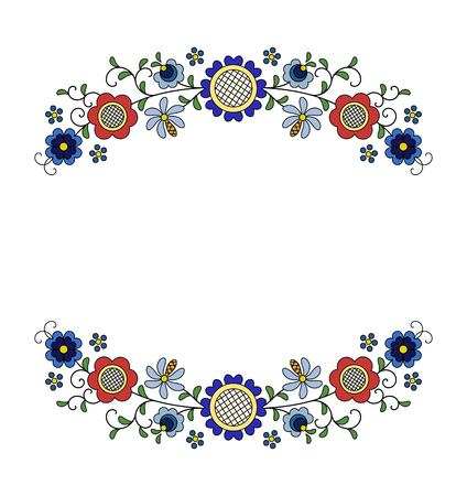 Traditional, modern Polish - Kashubian floral folk decoration vector illustration.
