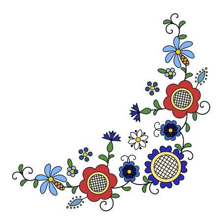 Traditional, modern Polish - Kashubian floral folk corner decoration vector - wzór kaszubski, haft kaszubski, wzory kaszubskie