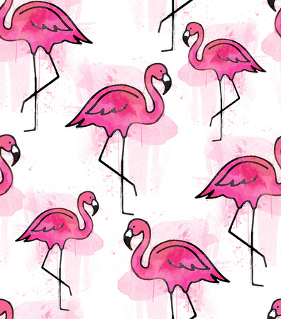Pink flamingo watercolor pattern